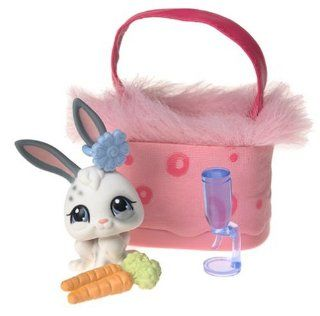 Littlest Pet Shop Pets On The Go Figure White Bunny with Pink Carry Case: Toys & Games