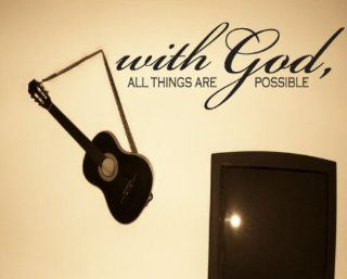With God All Things Are Possible Scriptural Christian Vinyl Wall Decal Mural Quotes Words C069withgodii   Wall Decor Stickers