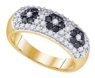1 cttw 10k Yellow Gold Black Diamond and White Diamond Three Flower Engagement Ring, and Fashion Right Hand Wedding Anniversary Band (Real Diamonds: 1 cttw, Ring Sizes 4 10): Wedding Bands: Jewelry
