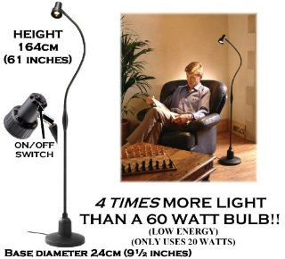 Serious Readers Classic Alex Floor 'Book' Light in BLACK ~ provides 4 times more light on the page compared with a 60 watt filament bulb ~ Specialised reading light with focused beam   Latest Version   Energy Efficient 240 watts output but uses on