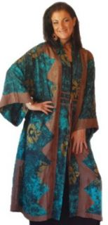 Lotustraders Jacket Duster Kimono Maxi Art To Wear OS M 1X Green Brown E278 at  Women�s Clothing store