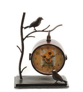 Ashton Sutton Table Clock, Metal Bird Case   Shelf Clocks