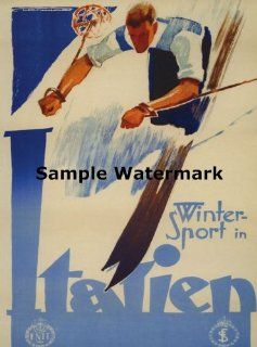 "SKI Italy Unitary Parliamentary Republic in South central Europe Italia Italian Skiing Winter Sport 16"" X 22"" Image Size Vintage Poster Reproduction   Prints"