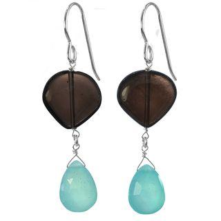 Ashanti Silver Caribbean Seas Blue Chalcedony Smoky Quartz Earrings (Sri Lanka) Ashanti Earrings