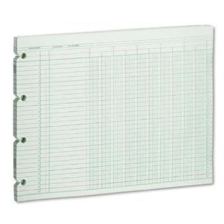 Wilson Jones Green Columnar Ruled Ledger Paper, 10 Columns and 30 Lines per Page, 9.25 x 11.88, 100 Sheets per Pack (WG10 10A) : Office Products