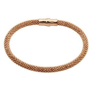 ".925 Sterling Silver and Rose Gold Plated 5mm Thickness Beaded Italian Bracelet with Magnetic Enclosure   7"" Inches: The World Jewelry Center: Jewelry"