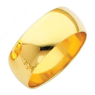 14K Yellow Gold 8mm Plain Wedding Band Ring for Men & Women (Size 4 to 12): Women S Rings: Jewelry