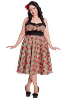 Hell Bunny Plus Size Rockabilly Charlie Dress in Leopard and Red Rose Print Party Dress (XX Large)