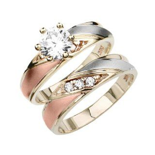 14K Tri color Gold Round Top Quality Shines CZ Cubic Zirconia Solitaire Ladies Engagement Ring and Wedding Band 2 Piece Set: Jewelry