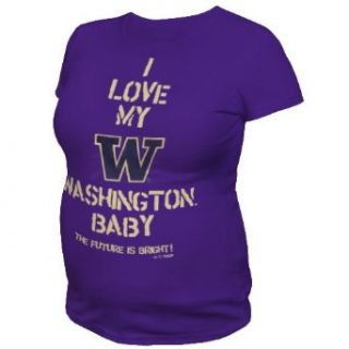 NCAA Washington Huskies T.Fisher I Love My Baby Maternity Tee Shirt (Purple, XLarge) : Sports Fan T Shirts : Clothing