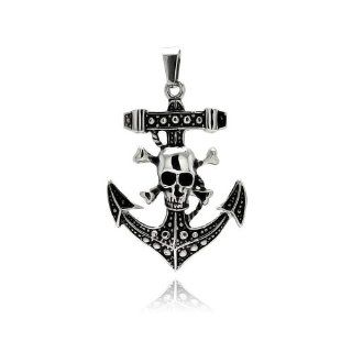 Stainless Steel 36.5mm(W)x50.5mm(H) Anchor with Skull and Bones Design Fashion Charm Pendant: The World Jewelry Center: Jewelry