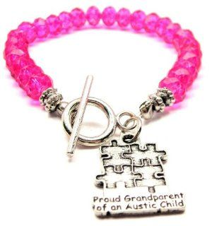 Proud Grandparent of an Autistic Child Hot Pink Crystal Beaded Toggle Bracelet: ChubbyChicoCharms: Jewelry