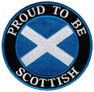 Proud To Be Scottish Embroidered Patch Scotland Flag Iron On Biker Emblem: Clothing