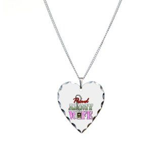 Necklace Heart Charm Proud Army Wife: Pendant Necklaces: Jewelry