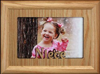 5x7 NIECE ~ Landscape LIGHT/MEDIUM Picture Frame ~ Holds a 4x6 or Cropped 5x7 Photo ~ Wonderful Keepsake Gift for a Proud Uncle or Aunt   Single Frames