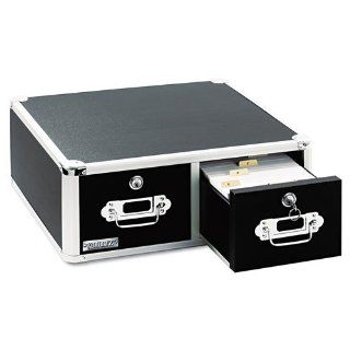 Vaultz Products   Vaultz   Vaultz Locking 6 x 4 Two Drawer Index Card Box, 3000 Card Capacity, Black   Sold As 1 Each   A great storage solution for index cards, recipes and pictures.   Reliable key lock provides security.   Features steel corners and alum