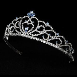 Aine Regal Rhinestone Heart Princess in Silver with Light Blue Accents Quinceanera Sweet 15 Tiara : Fashion Headbands : Beauty