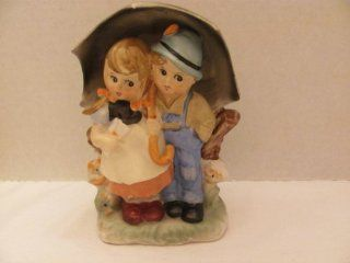 """Vintage   Young Boy and Young Girl Holding Umbrella On Way To Mail A Letter FIGURINE (approx. 6"""" Tall)   by ARNART 5TH AVENUE / (Hand Painted 2578)  Collectible Figurines"""