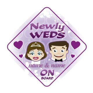 Newly Weds On Board Personalised Car Sign Wedding / Just Married Gift / Present : Child Safety Car Seat Accessories : Baby