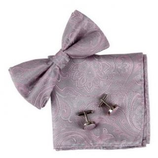 Pink Paisley Silk Pre tied Bow tie, Cufflinks, Handkerchiefs Present Box Set hot pink bowtie for him Pointe BT2086 One Size Hot Pink at  Men�s Clothing store