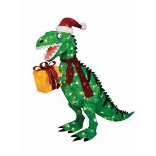 "KNLSTORE 42""h Cute Christmas Holiday Green Tinsel Tyrannosaurus T Rex Red Santa Hat Gift Box Present Lighted Dinosaur Outdoor Yard Decor Clear Lights Festive Fun Decoration  Other Products"