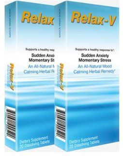 Relax V: Sudden Anxiety   Momentary Stress. Relief.   All Natural Stress Remedy Quickly Starts Relieving Anxiety, Stress, Nervousness, Irrational Fear, Mood Swings, Fear of Flying. PACK of 2 (40 Dissolving Tablets): Health & Personal Care