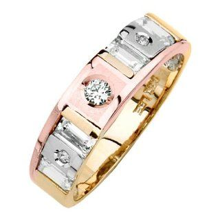 14K Tri color Gold Round & Baguette Top Quality Shines CZ Cubic Zirconia Wedding Band Ring for Women: Goldenmine: Jewelry