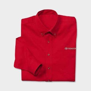 Officially Licensed Toyota Men's Executive Twill Shirt   Red   Size 2XL: Automotive