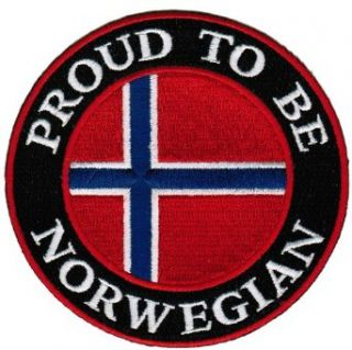 Proud To Be Norwegian Embroidered Patch Norway Flag Iron On Biker Emblem: Clothing