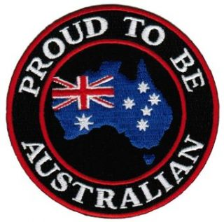 Proud To Be Australian Embroidered Patch Australia Flag Aussie Iron On Biker Emblem: Clothing