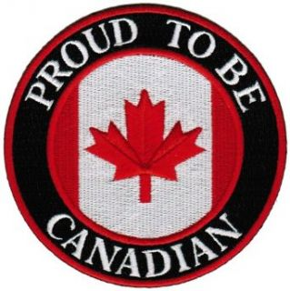 Proud To Be Canadian Embroidered Patch Canada Maple Leaf Flag Iron On Biker Emblem: Clothing