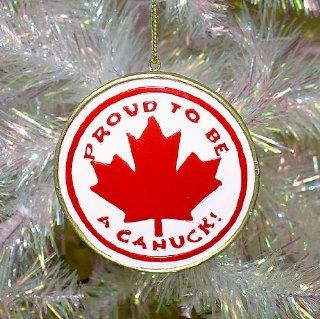 "2.5"" Red and White ""Proud To Be a Canuck"" Canadian Christmas Ornament #W30101   Decorative Hanging Ornaments"