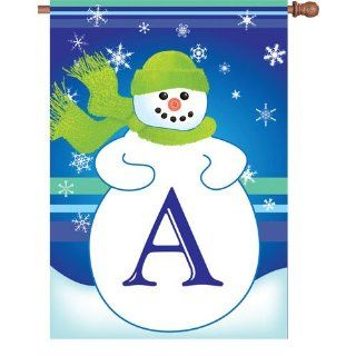 Monogram Letter A Winter House Flag : Outdoor Flags : Patio, Lawn & Garden