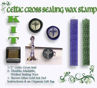 "Wax Seal Stamp KIT   Celtic Cross 1/2"" Mini Stamp KIT"