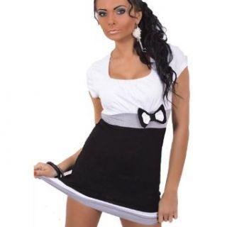 Sexy Short Sleeve Sequin & Bow Tunic Top Long Shirt Mini Dress (White Graphite Grey)