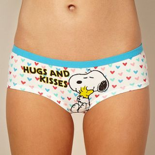 Cream Snoopy hugs & Kisses shorts