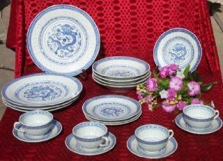 20 Piece Dinner Service   Dragon Design   Blue & White Rice Pattern Chinese Porcelain China Dinnerware: Dinnerware Sets: Kitchen & Dining