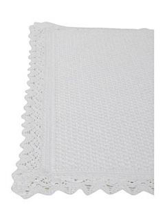 Linea Lace trimmed textured bathmat in white