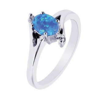 BRI Jewelry Sterling Silver 1.90mm Created Opal Oval Top Ring With Clear Cubic Zirconia: Jewelry