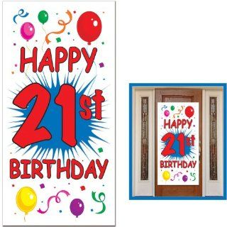 21st Birthday Door Cover Party Accessory (1 count) (1/Pkg): Kitchen & Dining
