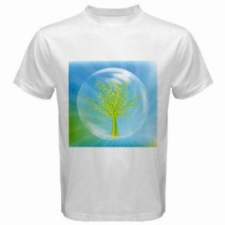 Men's Customized ECO JOY SKY ART TREE CLIP BLUE GREEN 100% Cotton White T shirt: Clothing