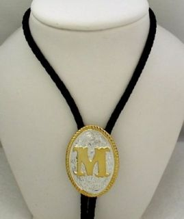 "Silver/Gold Plated Monogram Letter ""M"" Bolo Tie: Clothing"