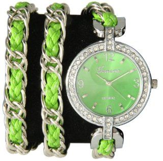 Pop of Color Designer Chain Wrap Watch Neon Green NARMI Watches