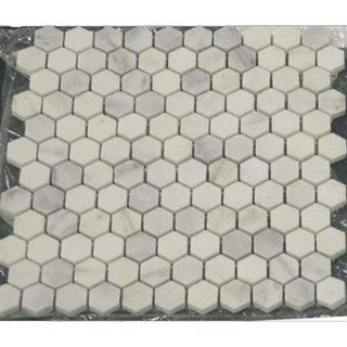 "BIANCO WHITE CARRARA MARBLE HEXAGON 1"" POLISHED MOSAIC TILE   Bathroom Marble Floor Tile"