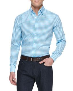 Mens Check Cotton Shirt, Blue/White Pattern   Brioni   White pattern (LARGE)