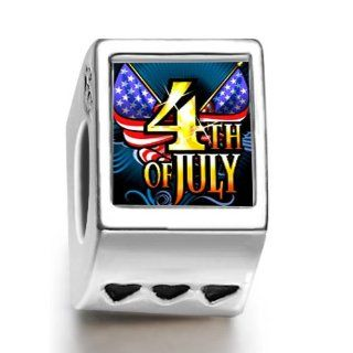 Soufeel 4Th Of July independence Day Family Three Heart European Charms Pandora Bracelets Compatible: Jewelry