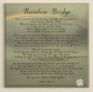 RAINBOW BRIDGE Pet Memorial Wall Decor Poem Saying Bereavement Sign 10X10 Wooden   Decorative Plaques