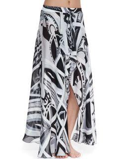 Womens Taitu Print Silk Coverup Skirt   Emilio Pucci   bianco/Nero (42/8)