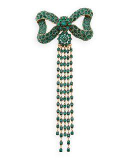 Rhinestone Bow Fringe Pin, Green   Oscar de la Renta   Emerald