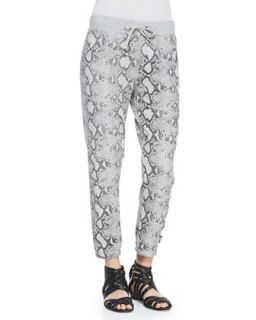 Womens Snake Print Basic Cropped Pants   Pam & Gela   Heather grey (PETITE)